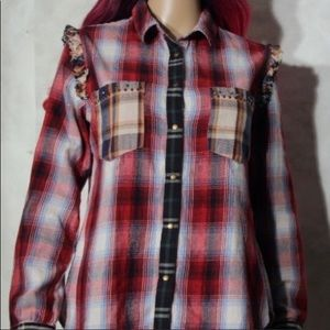 Desigual Extra large denim plaid shirt